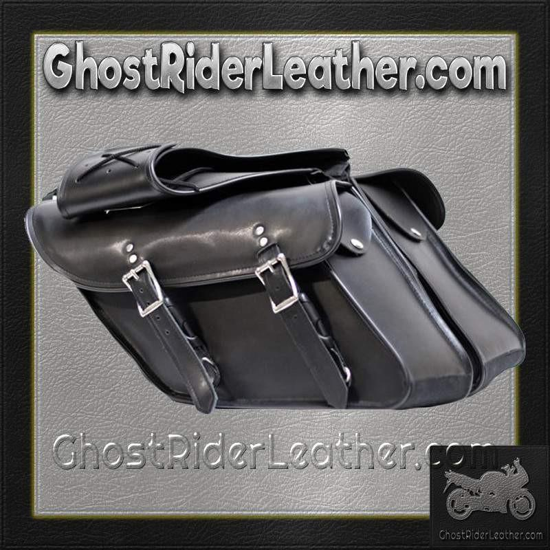 Black PVC Motorcycle Saddlebags For Harley Davidson Dyna / SKU GRL-SD4088-DYNA-PV-DL - Ghost Rider Leather