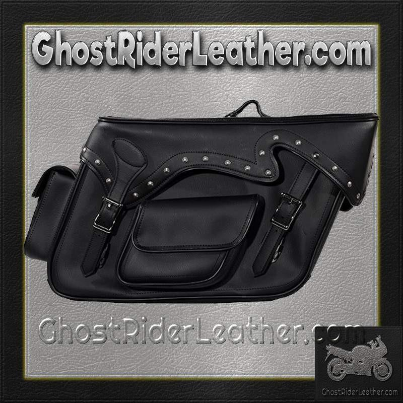 Black PVC Motorcycle Slanted Saddlebags with Studs and Pockets / SKU GRL-SD4085-PV-DL - Ghost Rider Leather