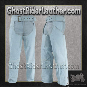 Blue Leather Chaps with a Denim Look / SKU GRL-C332-15-DL-blue leather chaps-Ghost Rider Leather
