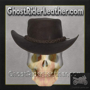 Brown Leather Gambler Hat / SKU GRL-HAT11-11-DL - Ghost Rider Leather