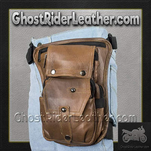Brown Leather Multi Pocket Thigh Bag with Gun Pocket / SKU GRL-AC1025-BRN-DL-tool bag-Ghost Rider Leather