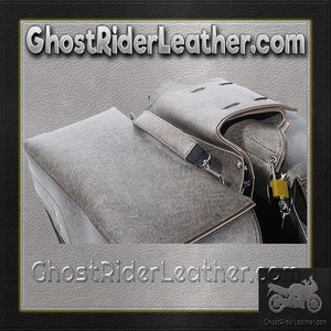 Brown PVC Motorcycle Slanted Saddlebags / SKU GRL-SD4082-BROWN-PV-DL - Ghost Rider Leather