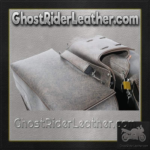 Brown PVC Motorcycle Slanted Saddlebags / SKU GRL-SD4082-BROWN-PV-DL-saddlebags-Ghost Rider Leather