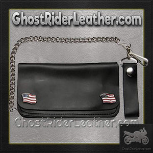 Chain Wallet with USA Flag Emblems - SKU GRL-WALLET5-DL - Ghost Rider Leather