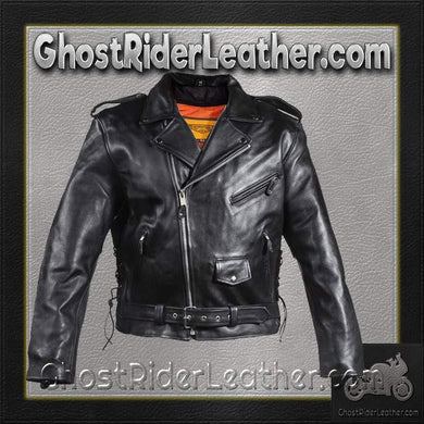 Classic Style Motorcycle Jacket with Side Laces and Vents / SKU GRL-MJ201-DL-leather motorcycle jacket-Ghost Rider Leather