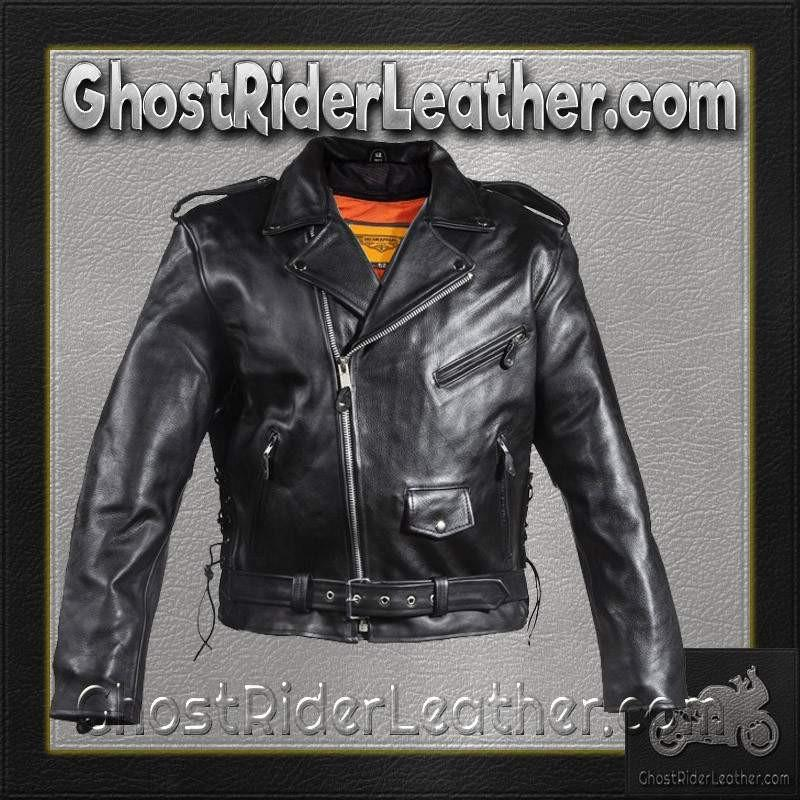 Leather Motorcycle Police Style Jacket with Side Laces and Vents - SKU GRL-MJ201-SS-DL - Ghost Rider Leather