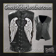 Diamond Plate Ladies Rock Design Genuine Leather Angel Wing Vest / SKU GRL-GFVLAW-BF - Ghost Rider Leather