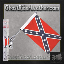 Diamond Plate Motorcycle Flagpole Mount and Rebel Flag / SKU GRL-BKFLGPLR-BKFLGPR18-BN - Ghost Rider Leather