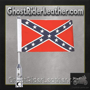 Diamond Plate Motorcycle Flagpole Mount and Rebel Flag / SKU GRL-BKFLGPLR-BKFLGPR18-BN-rebel flag motorcycle flag mount-Ghost Rider Leather