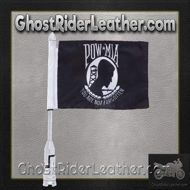 Diamond Plate Motorcycle Flagpole Mount with POW MIA Flag / SKU GRL-BKFLAGPM-BN - Ghost Rider Leather