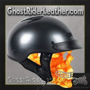 DOT Black Chrome Motorcycle Shorty Helmet / SKU GRL-1GM-HI-dot motorcycle helmet-Ghost Rider Leather