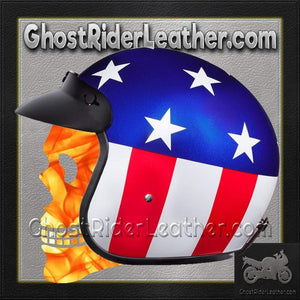 DOT Daytona Cruiser Captain America Open Face Motorcycle Helmet / SKU GRL-DC6-CA-DH-dot motorcycle helmet-Ghost Rider Leather