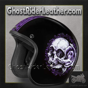 DOT Daytona Cruiser Floral Skull Open Face Motorcycle Helmet / SKU GRL-DC6-FLS-DH-dot motorcycle helmet-Ghost Rider Leather