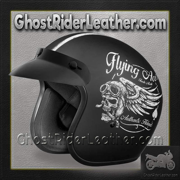 DOT Daytona Cruiser Flying Aces Open Face Motorcycle Helmet / SKU GRL-DC6-FAC-DH-dot motorcycle helmet-Ghost Rider Leather