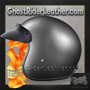 DOT Daytona Cruiser Gun Metal Metallic Open Face Motorcycle Helmet / SKU GRL-DC1-GM-DH-dot motorcycle helmet-Ghost Rider Leather