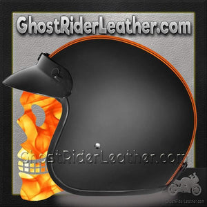 DOT Daytona Cruiser Orange Stripe Open Face Motorcycle Helmet / SKU GRL-DC6-O-DH-dot motorcycle helmet-Ghost Rider Leather