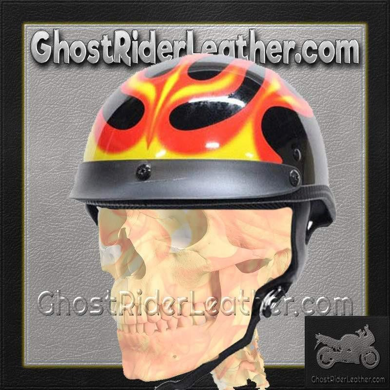 DOT Flames On Gloss Black Motorcycle Helmet / SKU GRL-200-FLAME-DL