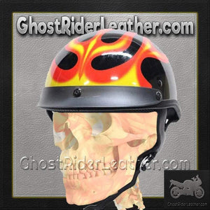 DOT Flames On Gloss Black Motorcycle Helmet / SKU GRL-200-FLAME-DL-motorcycle helmet-Ghost Rider Leather