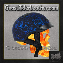 DOT Flat Blue Boneyard Motorcycle Shorty Helmet / SKU GRL-1FBYB-HI - Ghost Rider Leather