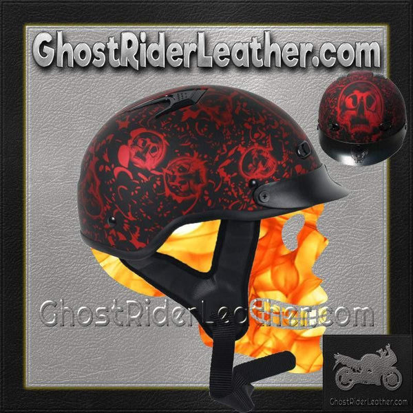 DOT Flat Red Boneyard Motorcycle Shorty Helmet / SKU GRL-1FBYR-HI-dot motorcycle helmet-Ghost Rider Leather