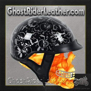 DOT Gloss Black Boneyard Motorcycle Shorty Helmet / SKU GRL-1VBYB-HI-dot motorcycle helmet-Ghost Rider Leather