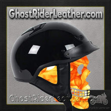 DOT Gloss Black Motorcycle Shorty Helmet / SKU GRL-1VGB-HI-dot motorcycle helmet-Ghost Rider Leather