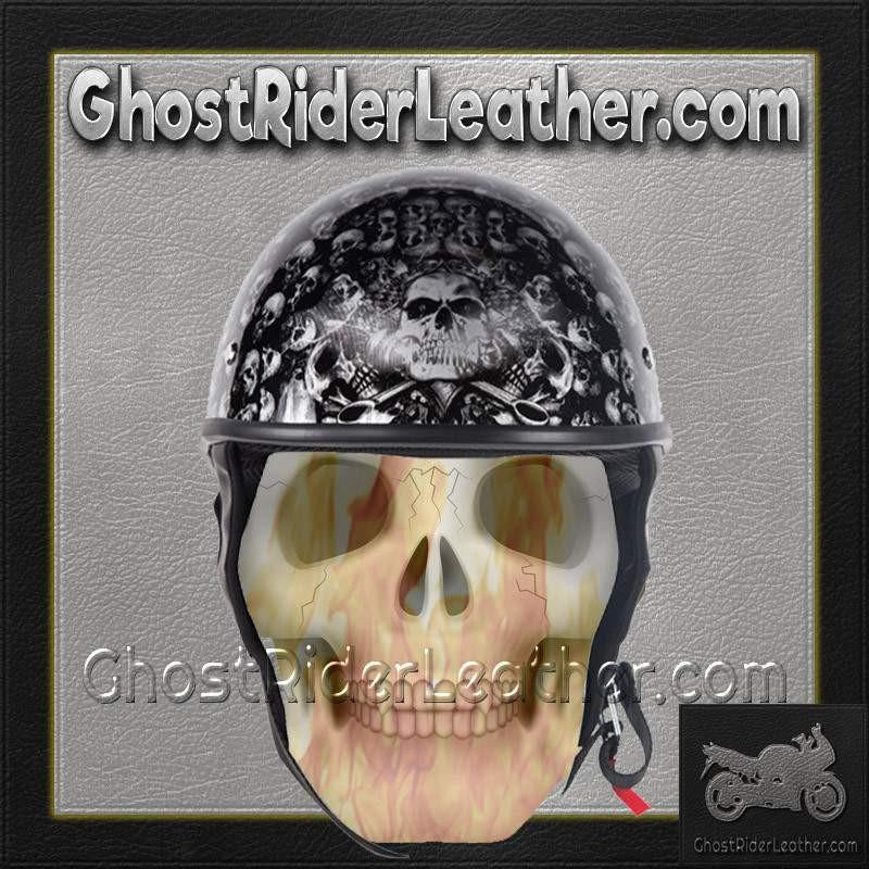 DOT Gray Skulls Shiny Motorcycle Helmet / SKU GRL-HS1100-D3-GRAY-SHINY-DL