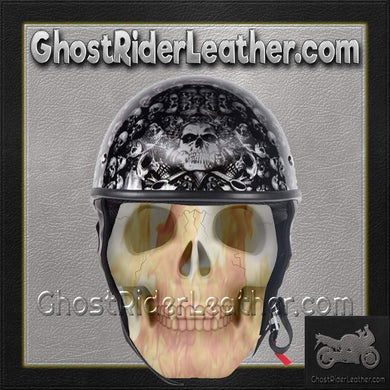 DOT Gray Skulls Shiny Motorcycle Helmet / SKU GRL-HS1100-D3-GRAY-SHINY-DL-motorcycle helmet-Ghost Rider Leather