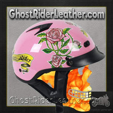 DOT Pink Lady Rider Motorcycle Shorty Helmet / SKU GRL-1VPR-HI-dot motorcycle helmet-Ghost Rider Leather