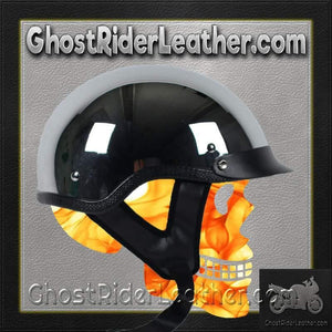 DOT Real Chrome Motorcycle Shorty Helmet / SKU GRL-1C-HI-dot motorcycle helmet-Ghost Rider Leather