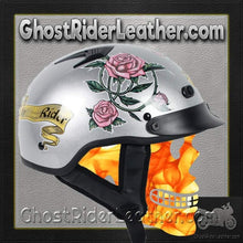 DOT Silver Lady Rider Vented Motorcycle Shorty Helmet / SKU GRL-1VSR-HI-dot motorcycle helmet-Ghost Rider Leather