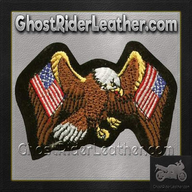 Eagle with Two American Flags Patch / SKU GRL-PAT-A5-DL-biker patch-Ghost Rider Leather