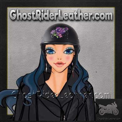 Flat Black Purple Rose DOT Motorcycle Helmet / SKU GRL-HS1100-D1-FLAT-DL-motorcycle helmet-Ghost Rider Leather