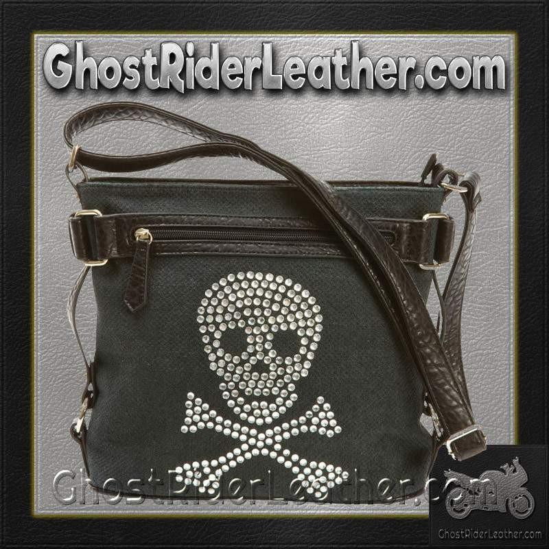 Fleur de Lune Handbag with Rhinestone Skull / SKU GRL-LUPSKULL-BN-skull purse-Ghost Rider Leather