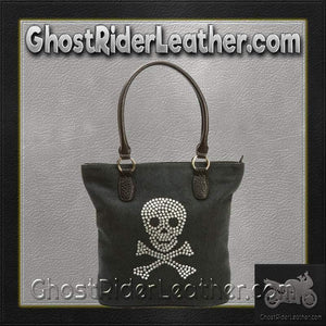 Fleur de Lune Handbag with Rhinestone Skull Design / SKU GRL-LUPSKULL2-BN - Ghost Rider Leather