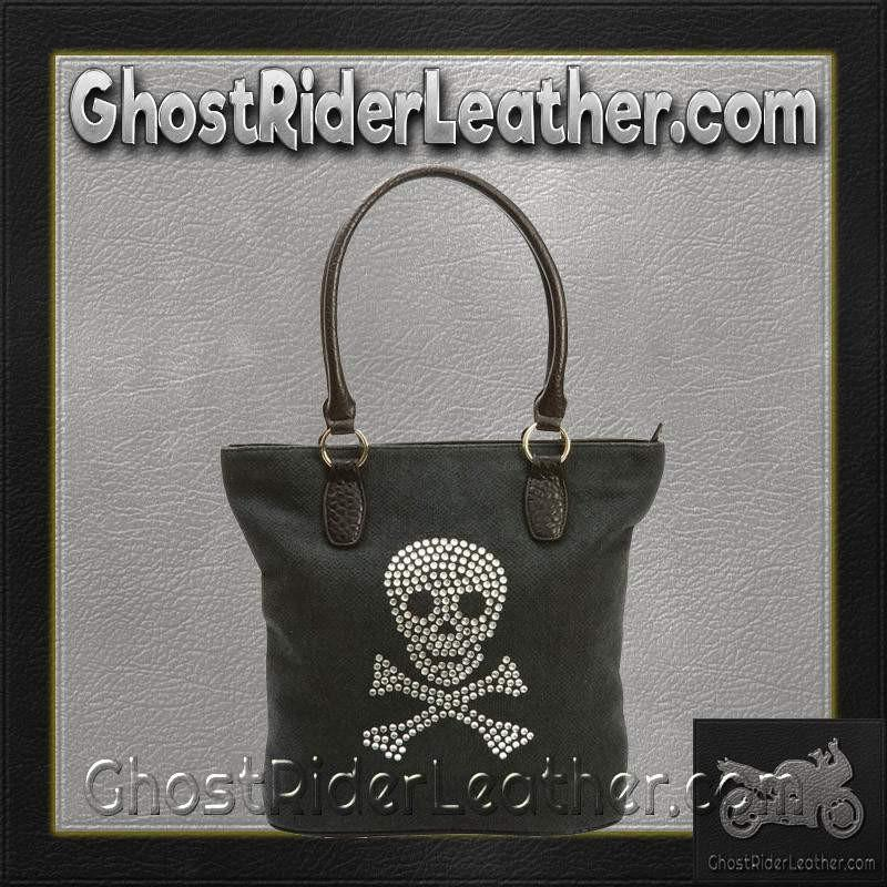 Fleur de Lune Handbag with Rhinestone Skull Design / SKU GRL-LUPSKULL2-BN-Handbag-Ghost Rider Leather