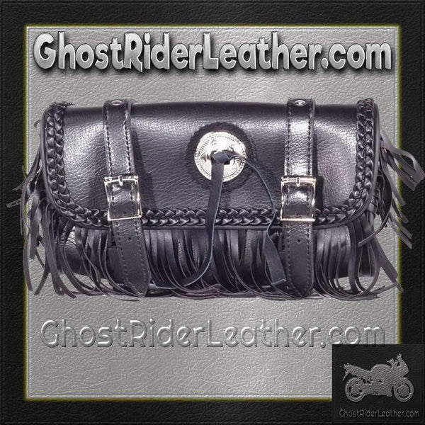 Fringe and Concho PVC Motorcycle Tool Bag - Fork Bag 10 or 12 Inch / SKU GRL-TB3000-DL-tool bag-Ghost Rider Leather