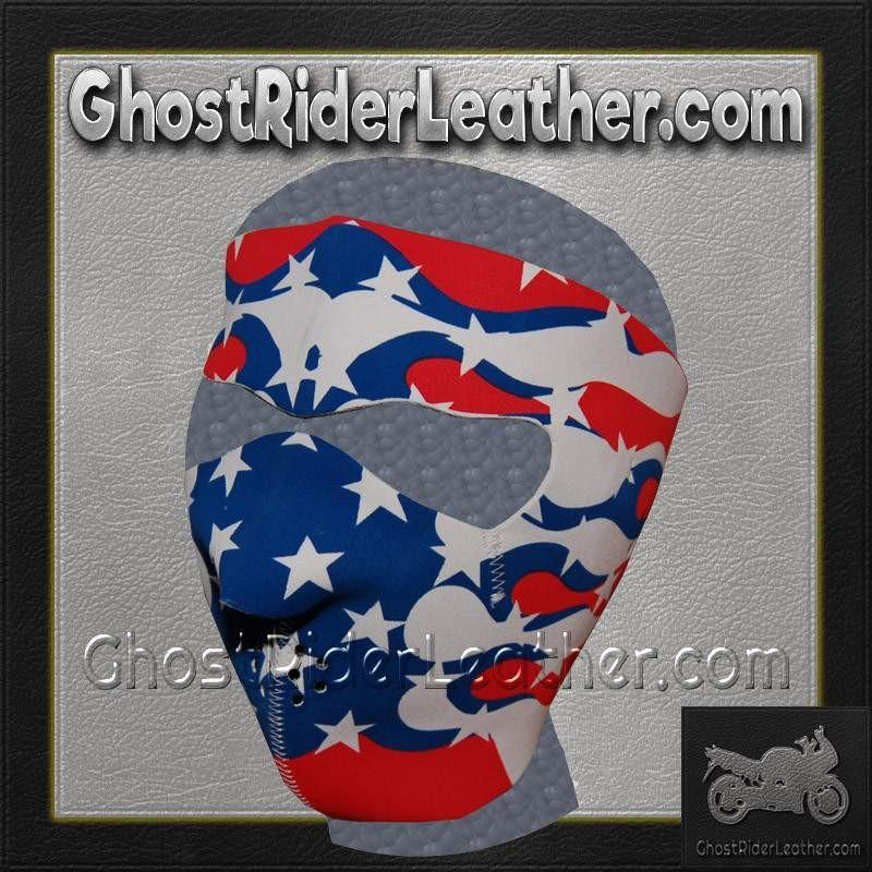 Full Face Neoprene Face Mask with American Flag Flames / SKU GRL-FMF04-MSK-US-FLAME-HI - Ghost Rider Leather