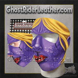 Full Face Purple Woman Neoprene Mask / SKU GRL-PURPLEWOMAN-HI - Ghost Rider Leather