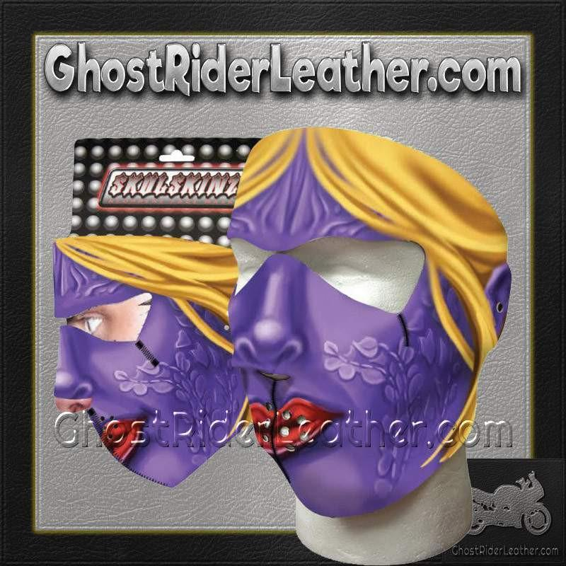 Full Face Purple Woman Neoprene Mask / SKU GRL-PURPLEWOMAN-HI-face mask-Ghost Rider Leather