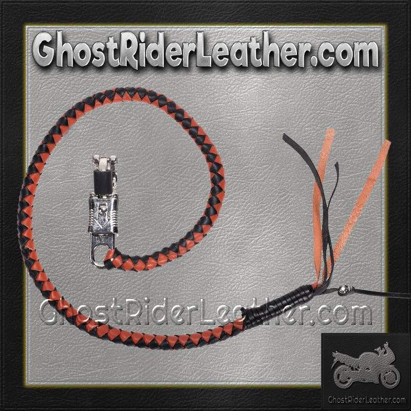 Get Back Whip in Black and Orange Leather / SKU GRL-GBW9-DL-get back whip-Ghost Rider Leather