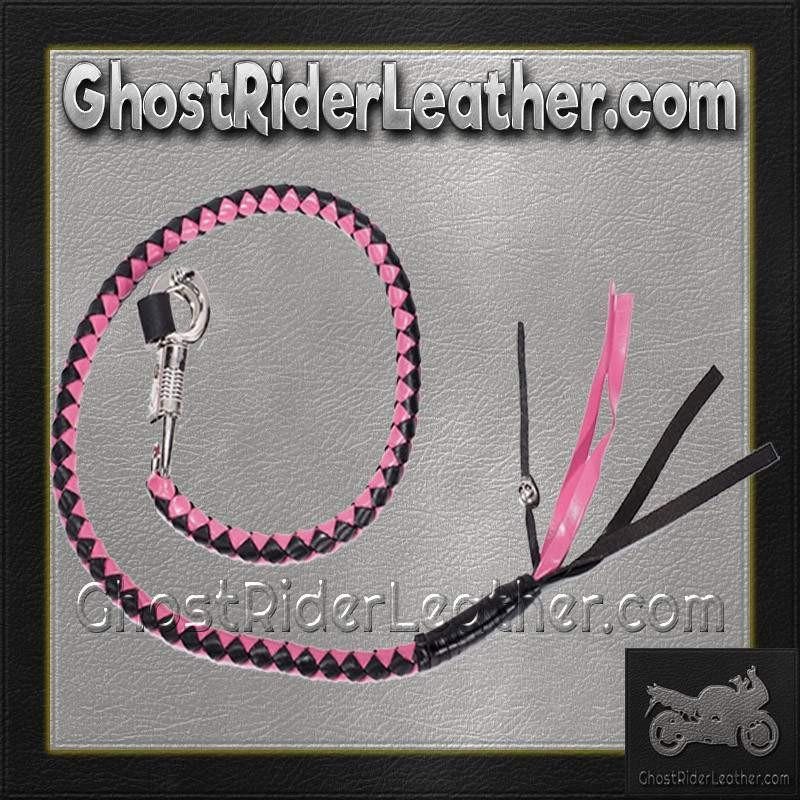 Get Back Whip in Pink and Black Leather / SKU GRL-GBW5-DL-get back whip-Ghost Rider Leather