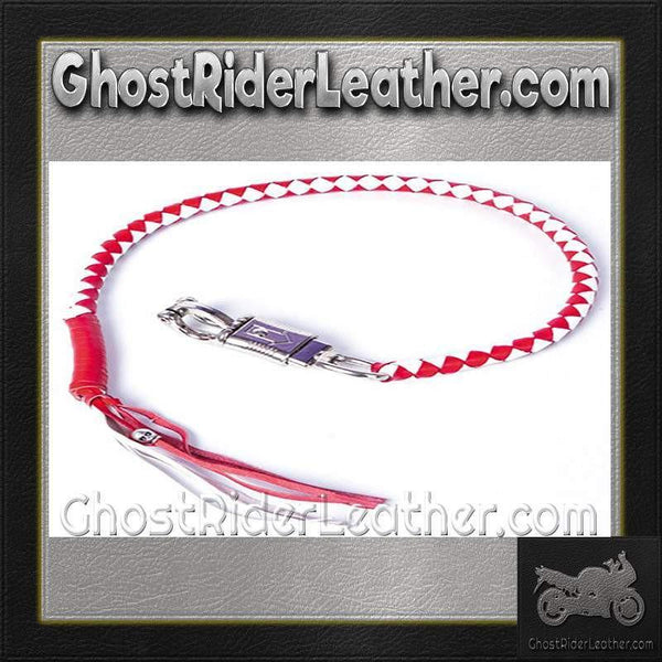 Get Back Whip in Red and White Leather / SKU GRL-GBW12-DL-get back whip-Ghost Rider Leather