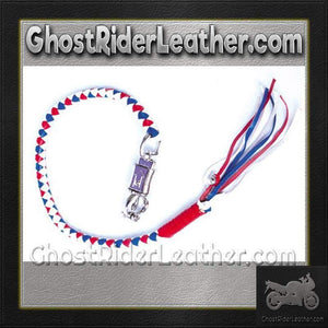 Get Back Whip in Red White and Blue Leather / SKU GRL-GBW11-DL - Ghost Rider Leather
