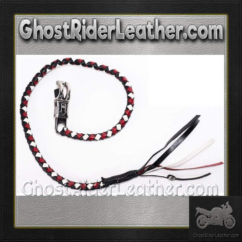 Get Back Whip in White Red and Black Leather / SKU GRL-GBW13-DL - Ghost Rider Leather