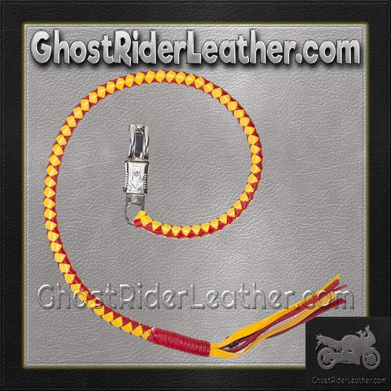 Get Back Whip in Yellow and Red Leather / SKU GRL-GBW15-DL-get back whip-Ghost Rider Leather