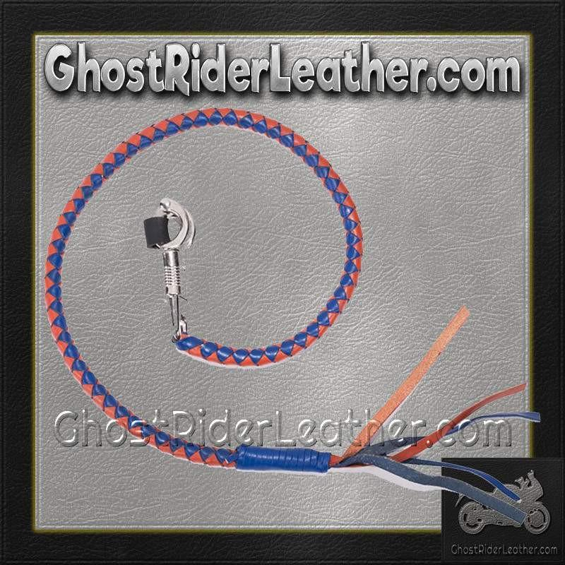 Get Back With in Orange and Blue Leather / SKU GRL-GBW14-DL-get back whip-Ghost Rider Leather