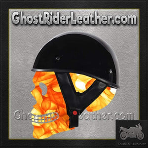 Gloss Black DOT Shorty Motorcycle Helmet / SKU GRL-HS1100-SHINY-DL-motorcycle helmet-Ghost Rider Leather