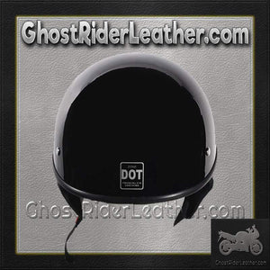 Gloss Black DOT Shorty Motorcycle Helmet - SKU GRL-HS1100-SHINY-DL - Ghost Rider Leather