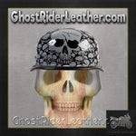 Grey Boneyard Skulls German Novelty Motorcycle Helmet / SKU USA-H5402-GREY-DL